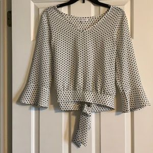 Tops - Black and white polka dot top with bell sleeves.